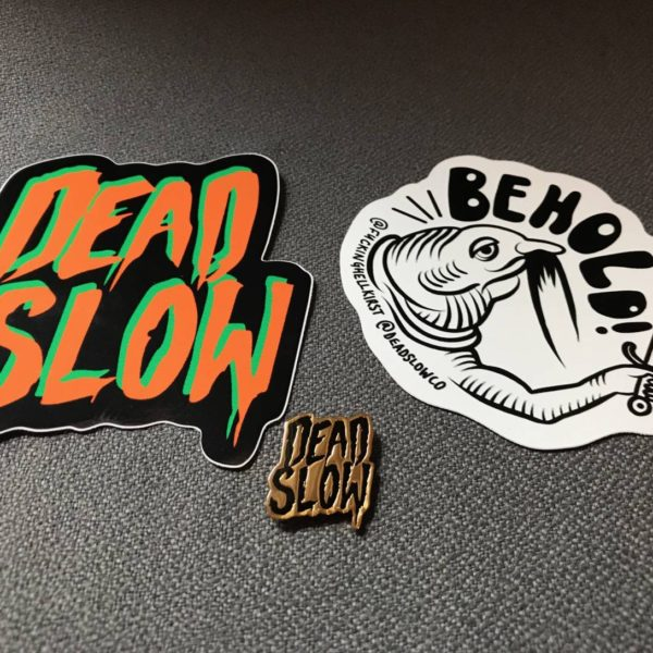 Dead Slow Pin and Sticker set