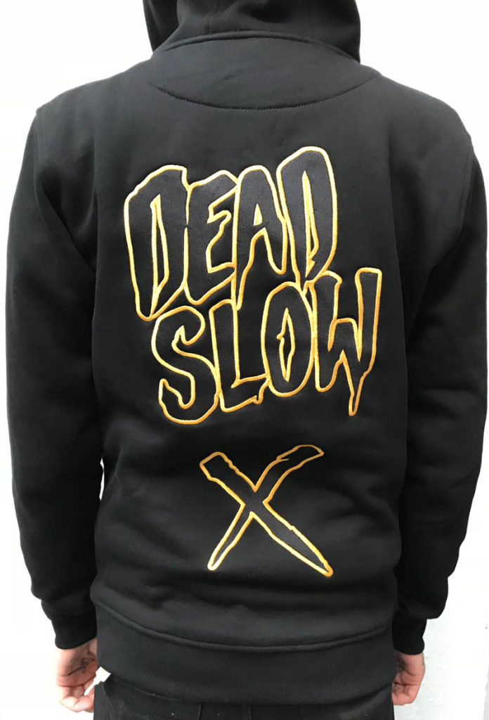 hoodieback 696x1024 - Black and Gold Embroidered Hoodie