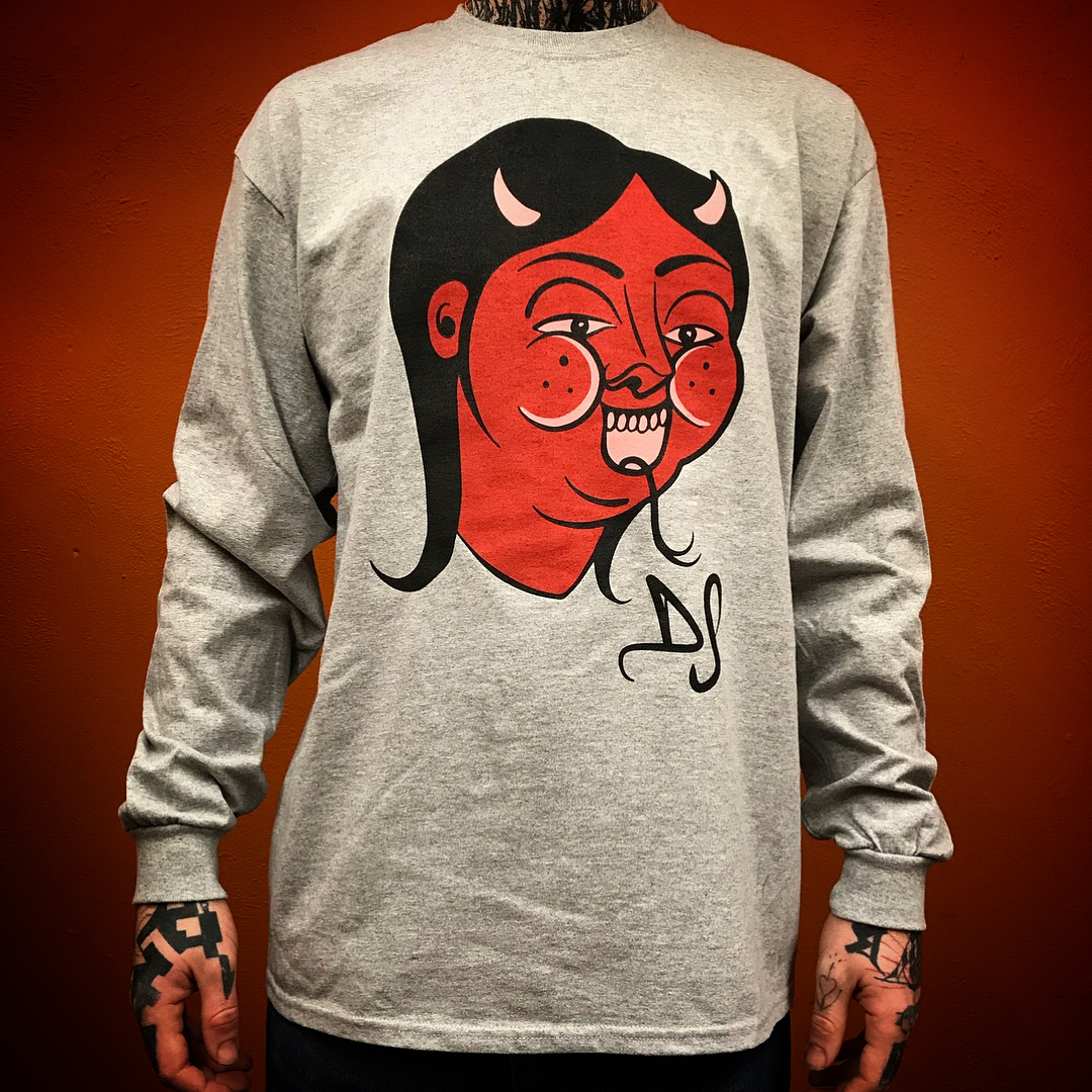 Long sleeve Devil T shirt by fuckinghellkirst, Brighton tattoo studio, Dead Slow