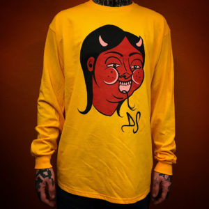 Yellow screenprinted devil T shirt by fuckinghellkirst