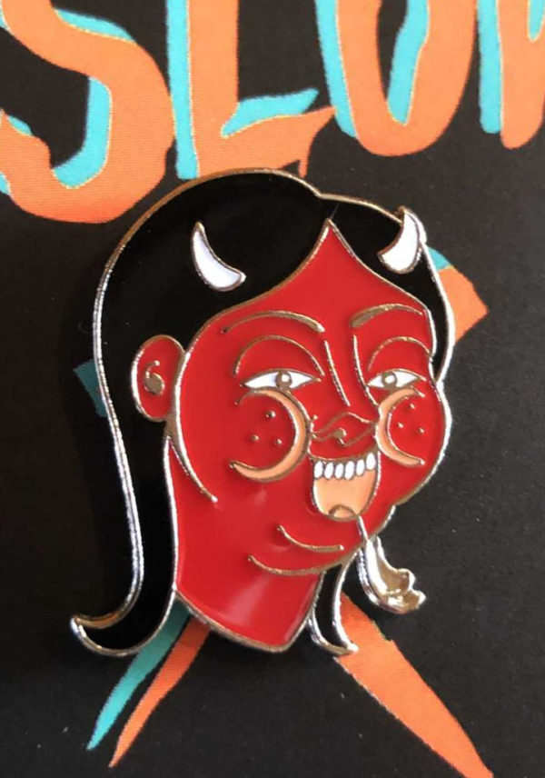 devil woman 600x856 - Devil Woman Enamel Pin by Fuckinghellkirst
