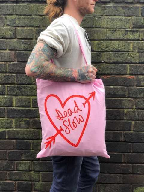 download 1 - Pink Cotton Dead Slow Tote Bag