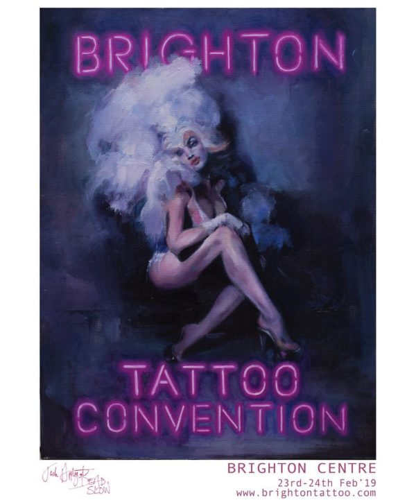 50891627 308677173126623 6526271299053397562 n 600x721 - A2 Brighton Tattoo Convention 2019 poster by Jack Applegate