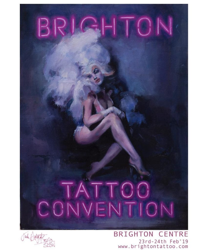 50891627 308677173126623 6526271299053397562 n 852x1024 - A2 Brighton Tattoo Convention 2019 poster by Jack Applegate