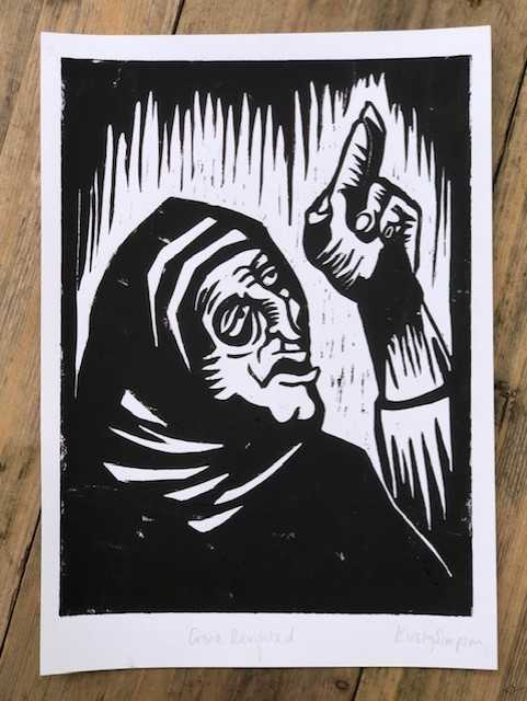 Old Crone Lino print by Fucking Hell Kirst